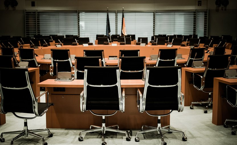 Empty conference room with many chairs