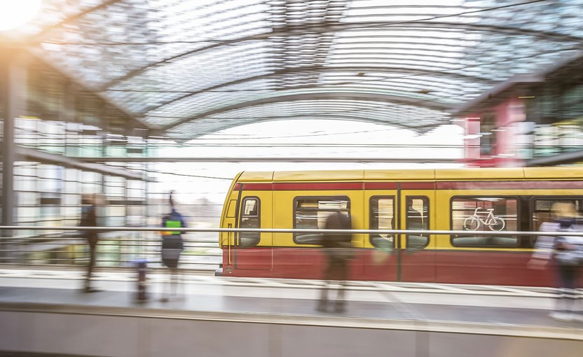 S-Bahn Berlin goes through a train station