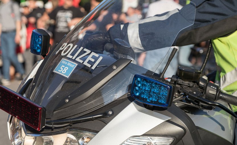 Police motorcycle on a demo